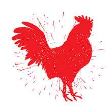 Rooster Red Label. Vintage Style Cock  On Hand Drawn Sunburst Background. Zodiac Symbol For Chinese New Year 2017. Hair Texture On The Edge Of The Rooster With Splash Of Ink. Grunge.