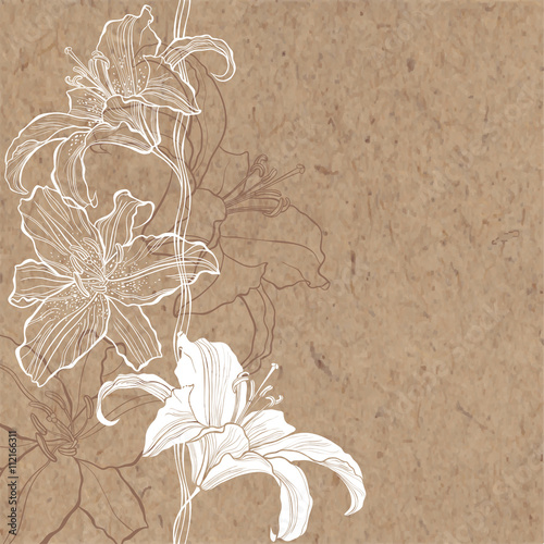 Photo  Floral background with lily on kraft paper