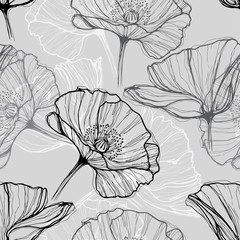 Tapeta Monochrome seamless pattern with poppies. Hand-drawn floral background