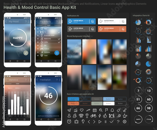 Flat design responsive UI mobile app and website template Canvas Print