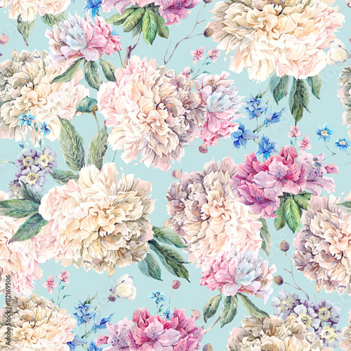 Cotton fabric Vintage Floral Watercolor Seamless Pattern with White Peonies