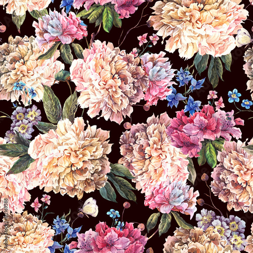 Vintage Floral Watercolor Seamless Pattern with White Peonies - 112169588
