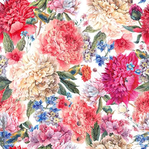 Floral peonies seamless watercolor pattern  - 112169913
