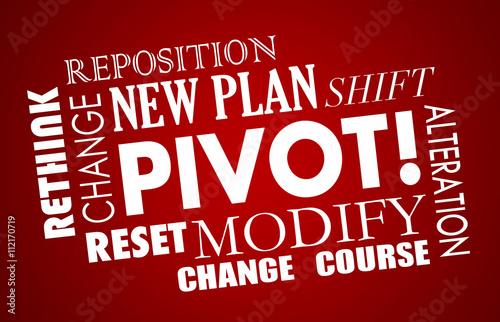 Fotografía  Pivot Change Course New Business Model Words 3d Illustration