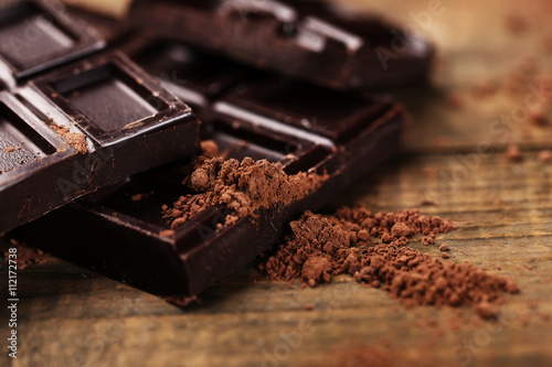 Dark chocolate with cocoa powder, closeup