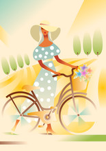 Girl In Wide-brimmed Hat And Blue Dress With A Bicycle On The Road In The Field. Rural Landscape. Poster In Art Deco Style.
