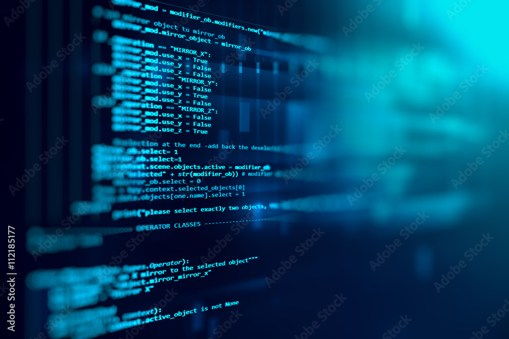 Fototapeta Programming code abstract technology background of software deve
