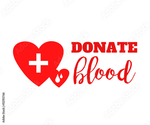 Blood Donation Symbol Two Hearts With Cross And Blood Drops