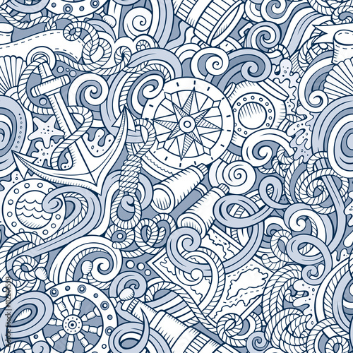 Cartoon hand-drawn nautical doodles seamless pattern