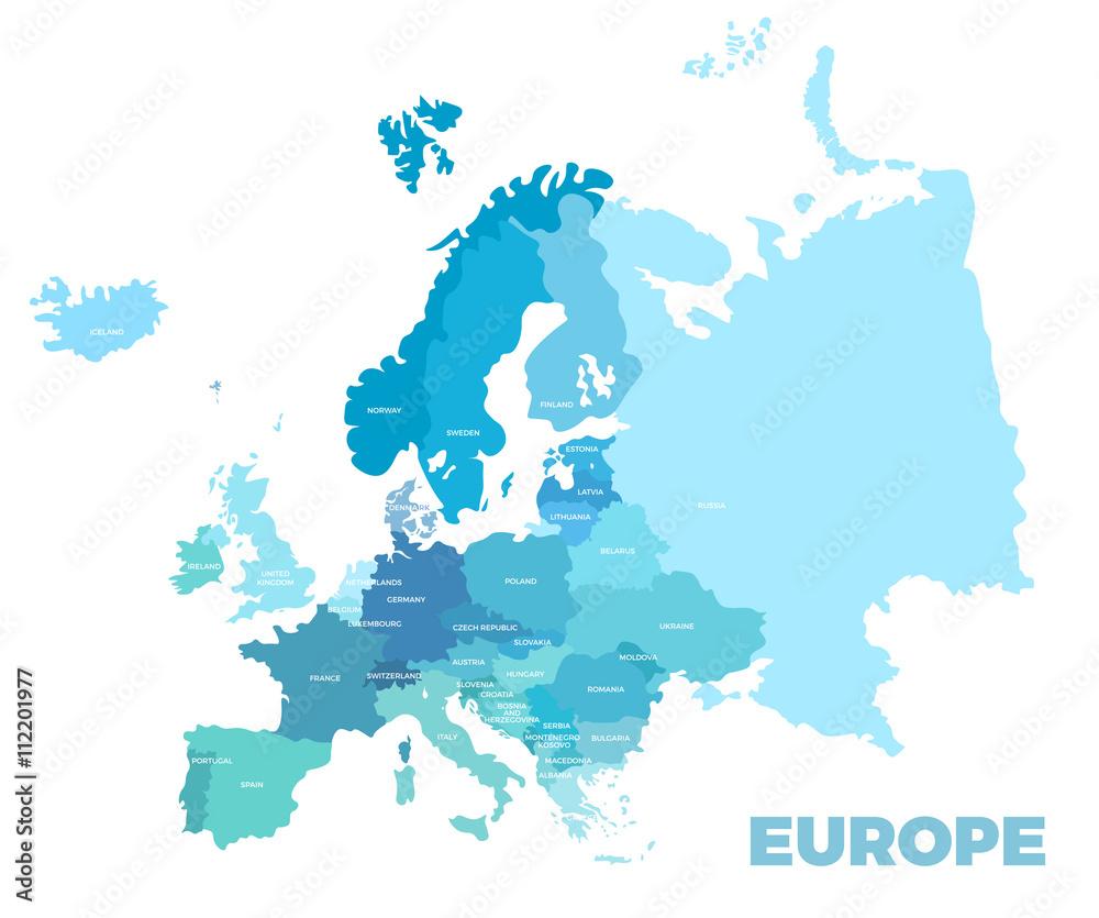 Fototapeta Europe modern detailed map