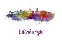 Edinburgh Skyline In Watercolor