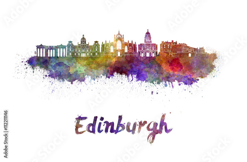 Edinburgh skyline in watercolor Poster