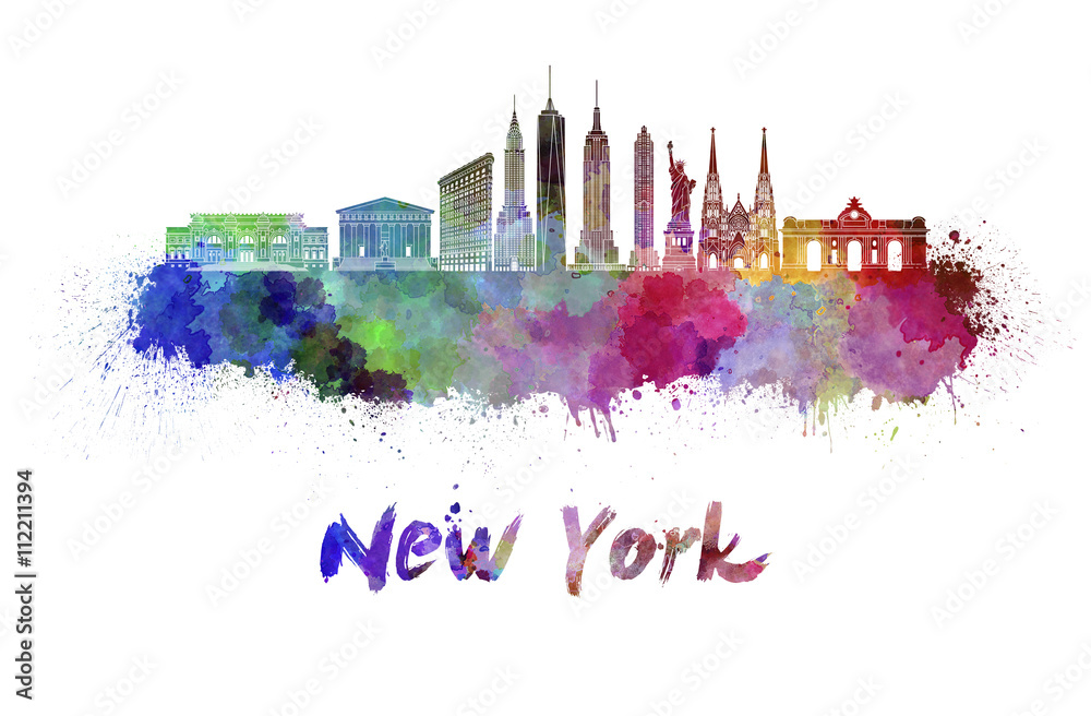 Fototapety, obrazy: New York skyline in watercolor