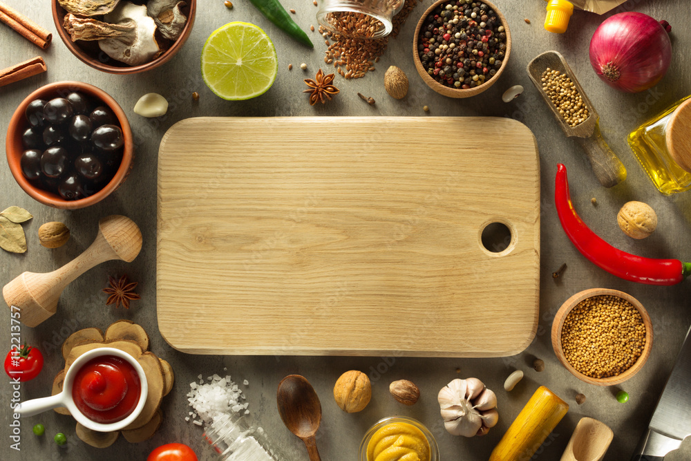 Fototapety, obrazy: herbs and spices on wood background