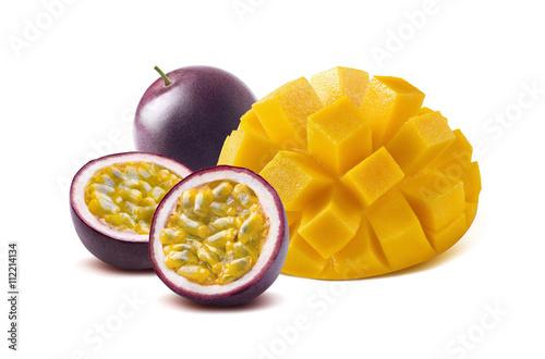 Mango cut maraquia passion fruit isolated on white background