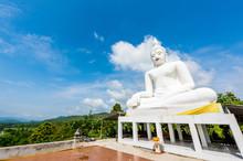 White Buddha Statue In Wat Cho...