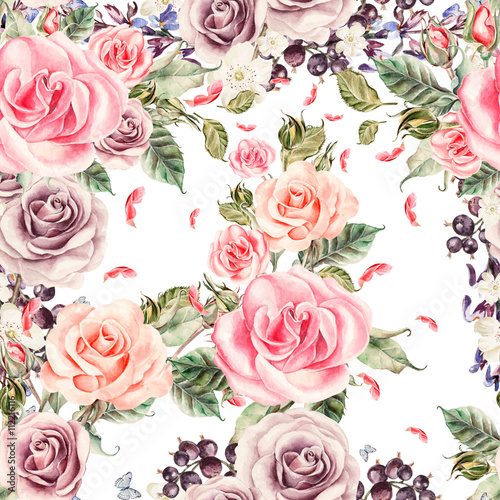 Pattern with watercolor realistic roses and berries. © knopazyzy