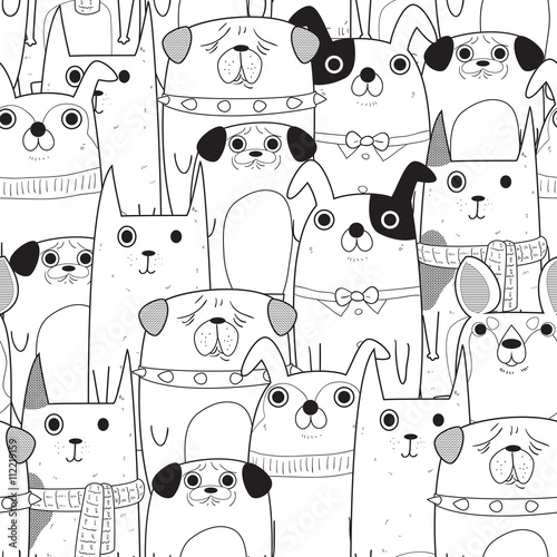 plakat Seamless Dogs pattern