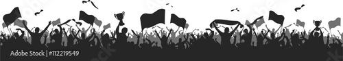 Fototapeta Soccer Fans black silhouette obraz