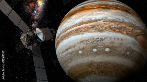 Deurstickers Nasa jupiter and satellite juno, 3D rendering Juno requires a five-year cruise to Jupiter, arriving around July 4, 2016.
