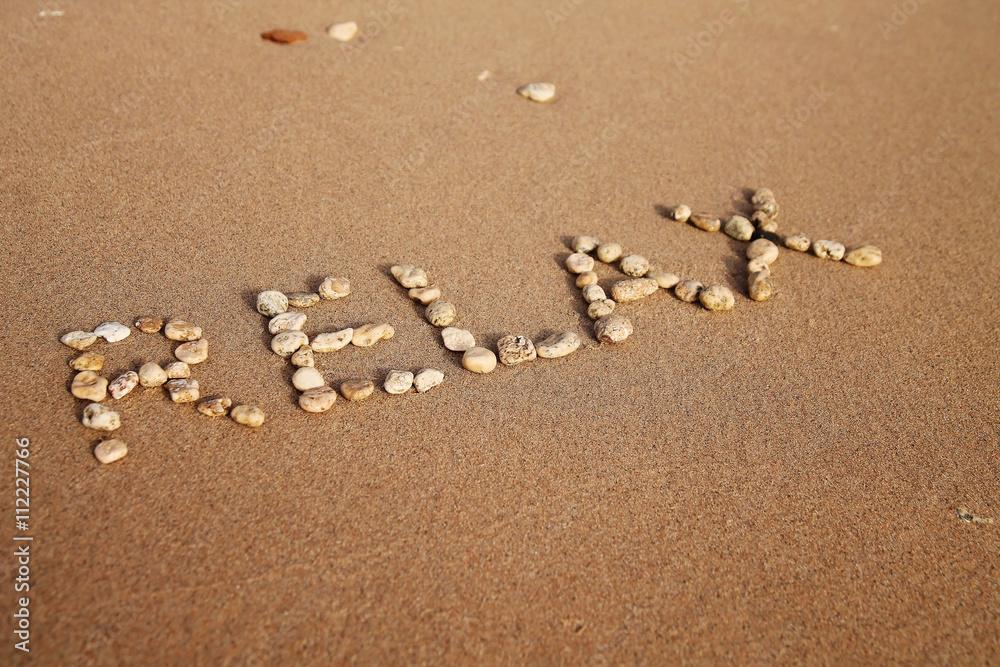 Valokuva  inscription relax on the sand