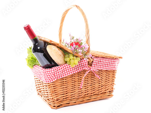 Spoed Foto op Canvas Picknick picnic basket isolated on white