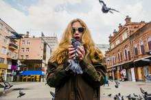 Caucasian Woman Holding Pigeon