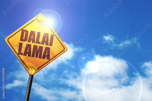 Fotografie, Tablou the Dalai lama, 3D rendering, glowing yellow traffic sign