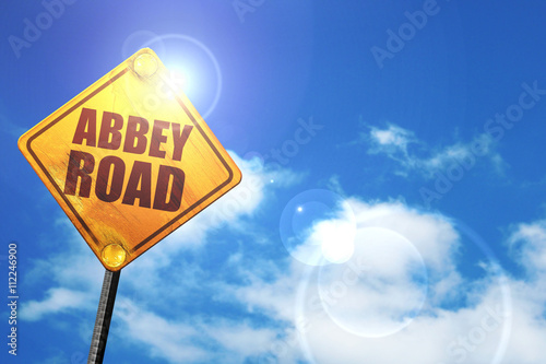 Photo  abbey road, 3D rendering, glowing yellow traffic sign
