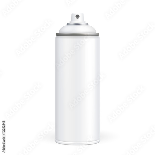 Photo  White Paint Aerosol Spray Metal 3D Bottle Can, Graffiti, Deodorant, Household Chemicals, Poison