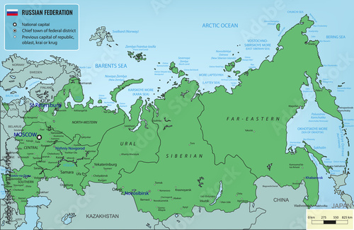 Fotografie, Tablou  Russian Federation map with selectable territories. Vector
