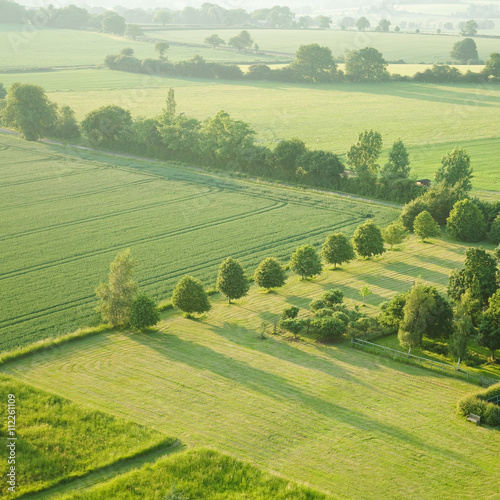 Fotografía tidy square - view over the early summer green fields from the air; East Anglia;
