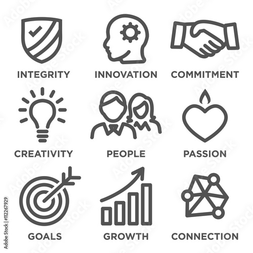 Fototapeta Company Core Values Outline Icons for Websites or Infographics Black and White obraz