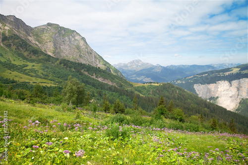 Fotografie, Obraz  mountain landscape in the summer, Avoriaz, France