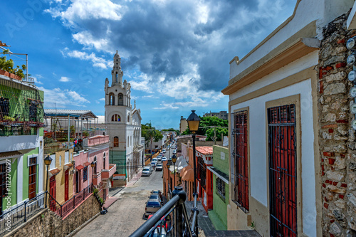 Canvas Prints American Famous Place View of Santo Domingo streets