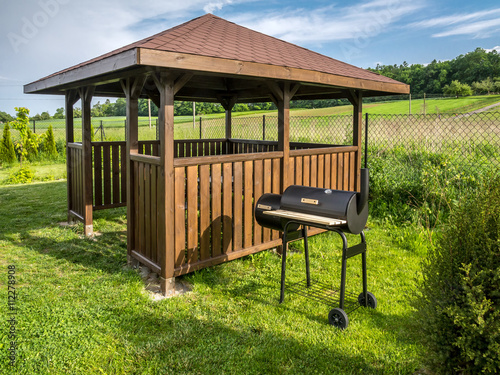 Canvas Wooden summer house with grill