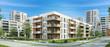Leinwanddruck Bild - Modern residential building and street