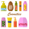 Set of Cosmetic tubes. Flat icons. Packaging of shower gel