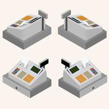 Cash Register. Flat Isometric. The Circulation Of Money.