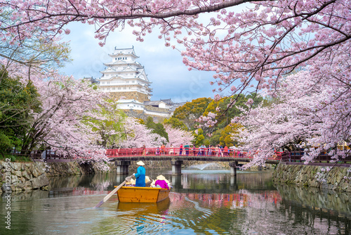 Photo  Himeji Castle with beautiful cherry blossom in spring season