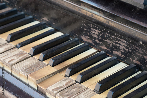 Fotografering Vintage antique piano keyboard