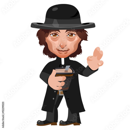 Fotografie, Obraz  Preacher in Wild West, cartoon vector character