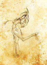 Egyptian Horus Hold Sand, Drawing On Paper. Transience And Time Concept.