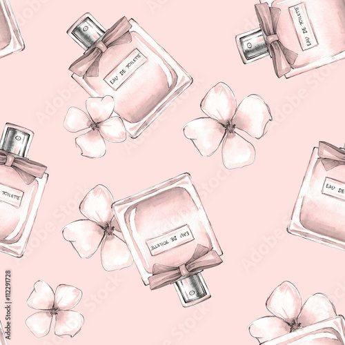 Cotton fabric Bottle of perfume and flowers. Seamless pattern 3