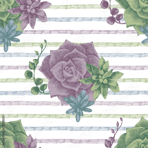 Cotton fabric seamless pattern with succulents