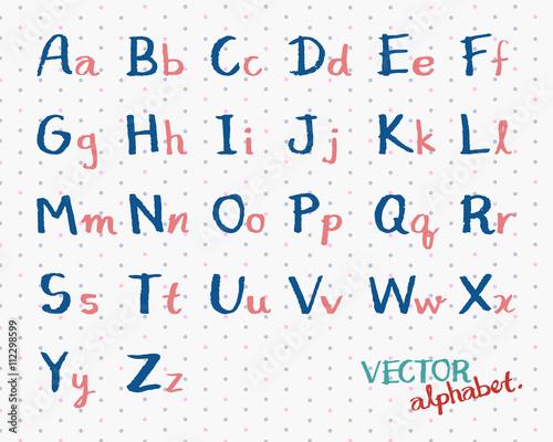 Kid Handwritten Alphabet Vector  English Font Capital and