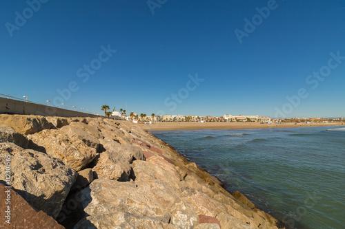 Photo sur Aluminium Ligurie Blick von der Mole auf den Strand von Valencia, Spanien