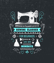 Vector Sewing Classes Poster, ...