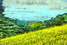 Grass Filled Hillside Against ...
