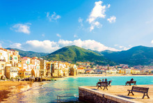 Beach Town Of Cefalu In The Evening, Sicily, Italy.